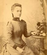 Kirby Peckham Lady By Table Portrait Cdv Cabinet Photograph Card Antique 41