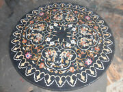 4and039 Black Marble Table Top Inlay Pietra Dura Handmade Work For Home Decor Gifts