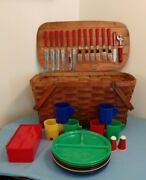 Vintage Wooden Picnic Basket W/ Plastic Dishes And Cups Stainless Flatware For 6