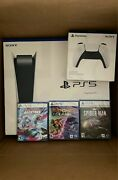 Sony Playstation 5 Ps5 Console Disc Version, Controller, 3 Game Bundle Spiderman