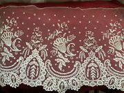 Antique Handmade French Needle Lace Edging,application On Silk Tulle 66cm By38cm
