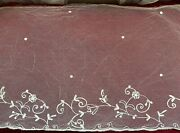 Antique Handmade French Lace Edging - Application On Tulle 120cm By 35cm