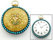 Repair Antique 45mm Verge Fusee Pocket Watch W/ Turquoise And 18k Multicolor Gold