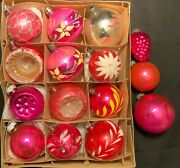 Vintage Pink/red Mercury Glass Christmas Ornaments - 15 Shiny Brite And Others