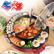 2 In 1 Electric Smokeless Bbq Grill And Hot Pot 110v 3.6l Split Easy Clean 2200w