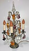 1920s Girandole Four Candle Table Lamp With Venetian Glass Grape Clusters