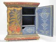 Folk Art Small Hand Painted Wooden Two Door Box Drawer Shelves Floral Hearts