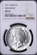 1921 Peace Silver Dollar Ngc Ms62 Outstanding Coin Free Shipping Wpxt