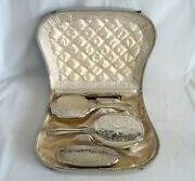 Antique Sterling Silver 925 Vanity Dresser Set Comb Brush Mirror With Case Box