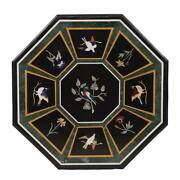 30and039and039 Antique Black Marble Dining Coffee Center Bird Table Top Lapis Inlay Home F