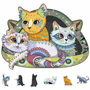 Wooden Jigsaw Puzzles, 200 Uniquely Shaped Animal-shaped Puzzle Happy Cat