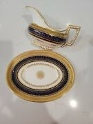 Brown Westhead Moore And Co Cobalt And Gold Gravy Boat And Plate