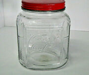 Coca Cola Anchor Hocking Clear Glass Canister Red Metal Lidded Jar - Cookie Jar