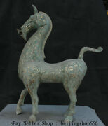 30.6 Antique Old China Bronze Silver Ware Dynasty Horse Horses Success Statue
