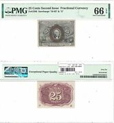 2nd Issue 25 Cents Fractional Currency Pmg Gem Uncirculated-66 Epq