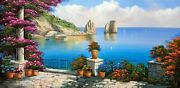Big Painting On Demand Capri Panoramic View Oil Canvas De Michele Italy South