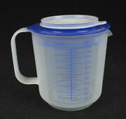Tupperware 1803 Mix N Stor Measuring Batter Bowl 5 Cup / 40 Oz Sheer And Blue