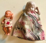 Miniature 4 Bisque Doll In Flower Dress Frozen With Movable Arms Germany