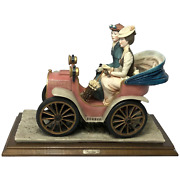 Fine Porcelain Edwardian Style Lady And Gentleman Touring Car Sculpture Signed