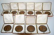 Russian Soviet Table Medal 40 Years Anniversary Wwii Boxed Set Of 10