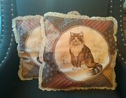 Set 2 Vtg Lace Edge Throw Pillow 80s Country Cottage Farmhouse Maine Coon 15