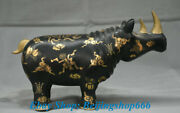 12 Old Chinese Wood Lacquerware Carved Rhinoceros Bull Oxen Cattle Statue