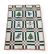 Christmas Twin Quilt Comforter Set Of 2 Snowman Tree Holiday Gingham Decor 66