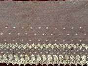 Beautiful French Antique Lace Edging 1m - Floral Design, Embroidery On Tulle