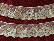 Rare French Antique White Chantilly Lace Edging 1m50 - Floral Design
