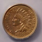 1879-p 1879 Indian Head Cent Icg Ms60 Details Really Nice Look