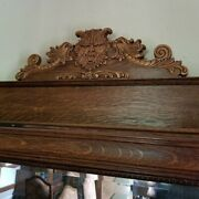 Vintage-antique 1900-20and039s Tiger Oak Fireplace Surround W/ Beveled Mirror