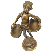 Fine 19th Century Girl Carrying Flower Baskets Sculpture Signed Auguste Moreau