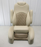 Godfrey Pontoon Boat Bolstered Reclining Captain Helm Chair Seat Tan And Brown