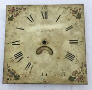"""Antique Longcase Grandfather Clock Dial By Jones Llanfyllin 12"""" By 12"""" 30 Hour"""