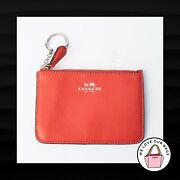 New 65 Coach Orange Crossgrain Leather Keychain Pouch Id Coin Purse Wallet
