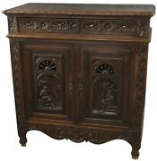 Cabinet Brittany Antique French 1900 Chestnut Wood Carved Figures 2-door