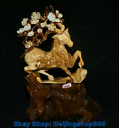 18 China Natural Xiu Jade Carving Spotted Deer Lucky Statue Sculpture