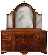 Chest Of Drawers Flame Mahogany Lion Heads Carved Shell Trifold Mirror 6-drawer