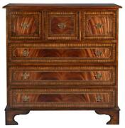 Chest Of Drawers English Flame Mahogany Banded Inlay Brass Hardware 6