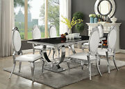 Contemporary Black Glass Chrome Dining Table Pearly Cream Chairs Furniture Sale