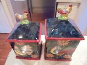 2 Certified International Susan Winget Sunrise Rooster Canisters Exclnt Condtn