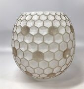 Replacement Glass Honeycomb Shade For Majestic Lamp Corp Vintage Mcm 1950s