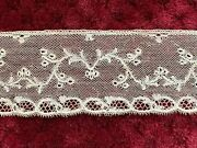 Rare Antique Mechlin Lace Edging Made In 1929 - Delicate Floral Design 103cm