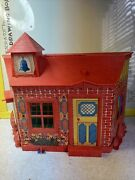 Vintage Remco 1960's Little Red Schoolhouse Tiny Doll With Furniture