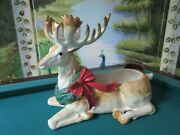 Fitz And Floyd Stag 1991 Sitting Christmas Deer Planter 14