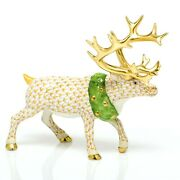 Herend Holiday Reindeer Porcelain Figurine Butterscotch Flawless 785
