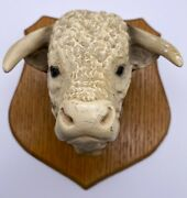Vintage Porcelain Steer Cow Wood Mounted Head Wall Hanging Farmhouse Country