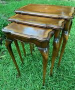 Vintage 1930s David Zork Of Chicago Marquetry Nesting Tables