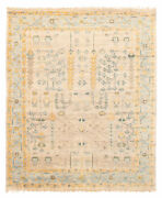 Vintage Hand-knotted Carpet 8and0390 X 9and03910 Traditional Light Khaki Wool Area Rug