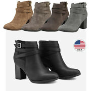 Womens Mid Heel Block Chunky Booties Ankle Boots Zipper Winter Shoes Grey 5-11